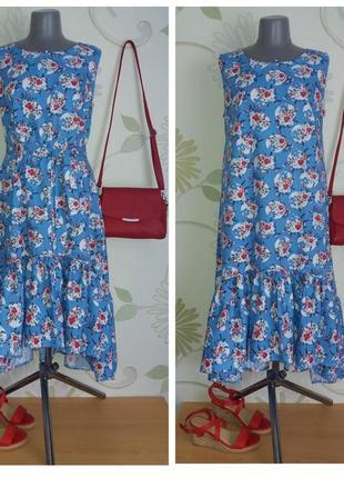Платье с воланами с удлиненной спинкой расклешенное свободное трапеция хлопок