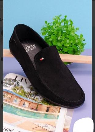 Черные замшевые мужские туфли мокасины