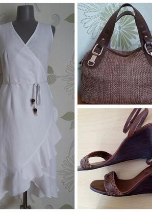 Платье-халат на запах с воланами с удлиненной спинкой льняное миди из льна белое