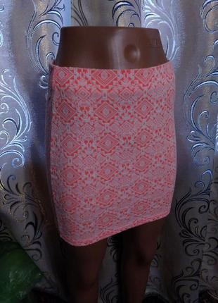 Яркая юбка с геометрическим принтом river island2 фото