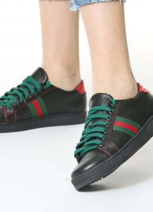 Кожаные кеды кроссовки женские стильные черные цветные полоски натуральная кожа