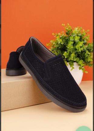 Синие мужские туфли с перфорацией летние мокасины дышащие