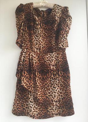 Эффектное платье леопард, шелк, леопардовый принт