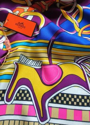 Шикарный шёлковый платок шарф в стиле hermes