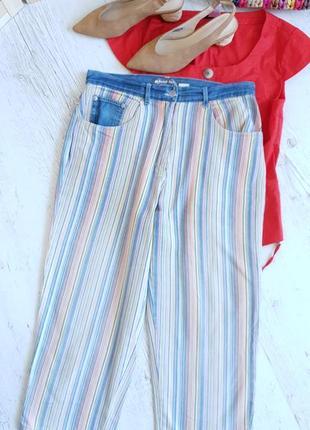 Полосатые укороченые джинсики.