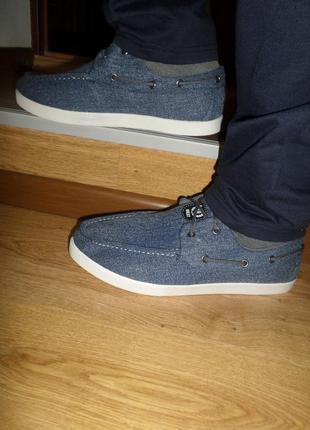 Мужские джинсовые мокасины на шнурках.модные джинсовые кеды.