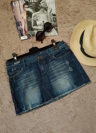 Крутая короткая джинсовая юбка-трапеция с необработанным краем/мини юбка