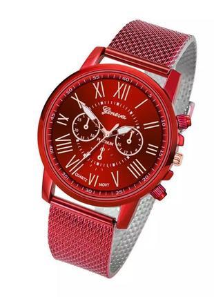 Часы женские наручные красные на силиконовом ремешке