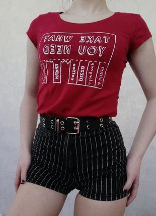 Джинсовые шорты (в полосочку) на высокой талии