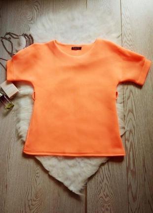Неоновая блуза неопрен оранжевая с рукавами стрейчевая батал футболка цветная