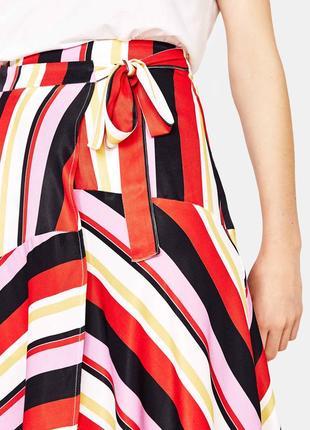 Тотальная распродажа! асимметричная полосатая юбка – миди на запах