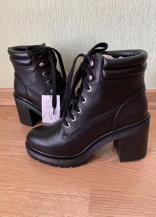 Новые чёрные ботинки ботильоны натуральная кожа zara