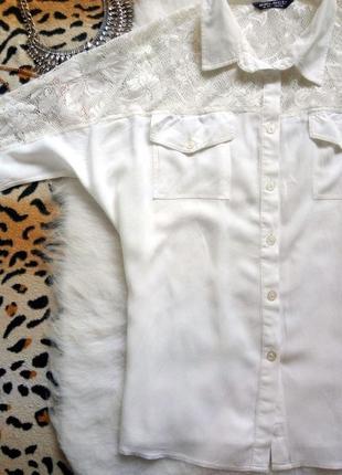 Белая рубашка с ажурными плечиками блуза гипюр вышивка батал большой размер плюс сайз3 фото