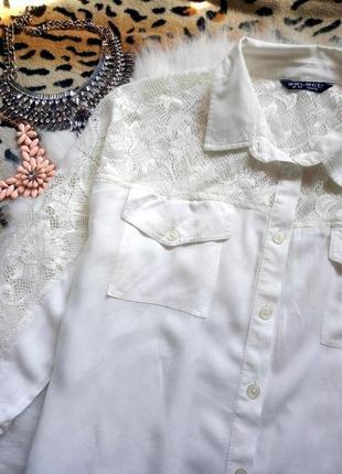 Белая рубашка с ажурными плечиками блуза гипюр вышивка батал большой размер плюс сайз2 фото