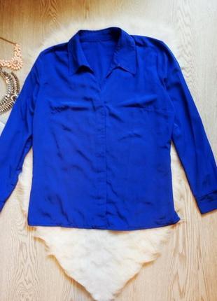 Синяя шелковая атласная блуза рубашка с длинным рукавом батал электрик большой размер
