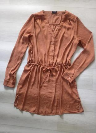 Платье туника vila clothes оранжевое коричневое как шёлковое