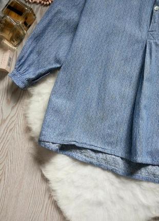 Голубая плотная рубашка с длинным рукавом туника без воротника вышиванка под джинс батал4 фото