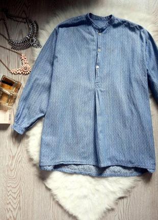 Голубая плотная рубашка с длинным рукавом туника без воротника вышиванка под джинс батал2 фото
