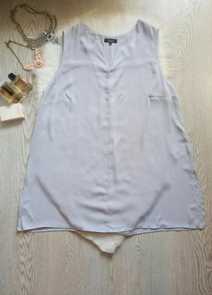 Длинная блуза туника светлого голубого цвета шифон батал большой размер летняя вырезом