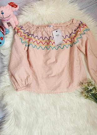 Новая блузка m&s малышке 6-7 лет