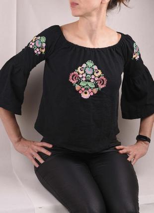 Черный топ блуза этно вышиванка со спущенными плечами