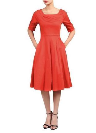 Брендовое красное коттоновое нарядное вечернее макси платье с карманами jolie moi этикетка
