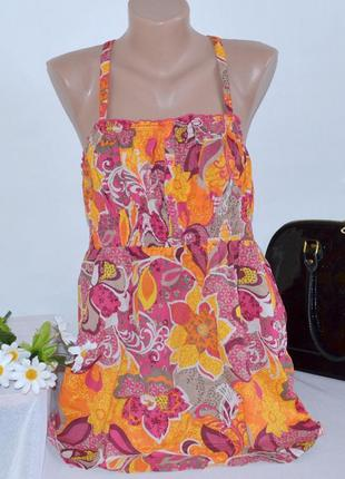 Брендовая яркая разноцветная коттоновая майка топ george индия принт цветы этикетка