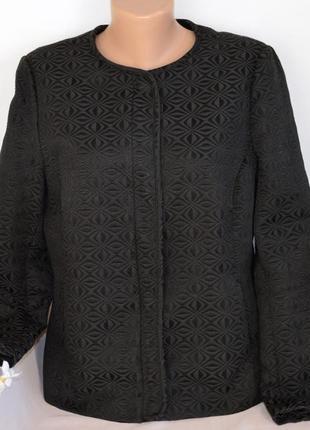 Брендовый фактурный черный пиджак жакет с карманами george вьетнам коттон
