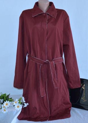 Брендовый бордовый плащ тренч с поясом и карманами nana большой размер