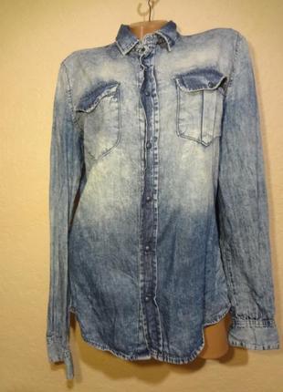 Джинсовая рубашка bershka размер м