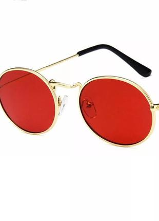 Солнцезащитные очки овалы женские / мужские очки от солнца / имиджевые красные