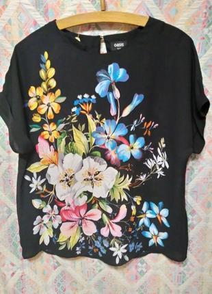 Красивая блуза свободного кроя цветочный принт стразы акварель