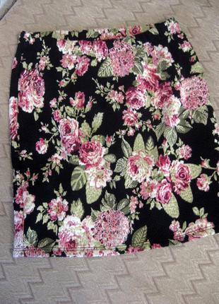 Юбка even&odd испания разноцветная чёрня розовые цветы