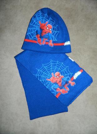 Детский новый набор шапка и шарф человек-паук на ог 54-56 см.
