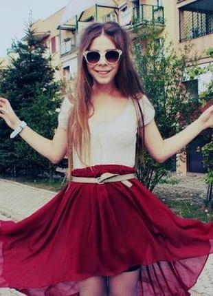 Красивая летняя ассиметричная юбка со шлейфом