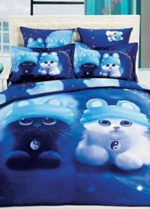Полуторный постельный комплект котята инь-янь, хлопок (пакистан)