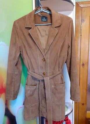 Шикарный натуральный замшевый тренч/куртка/пиджак/пальто