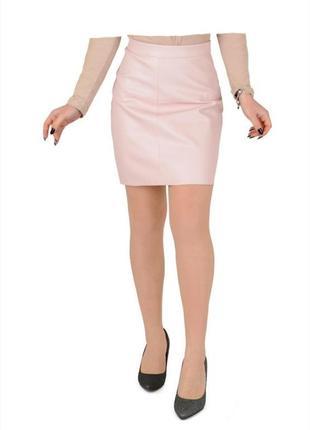 Розовая пудра кожаная короткая мини юбка
