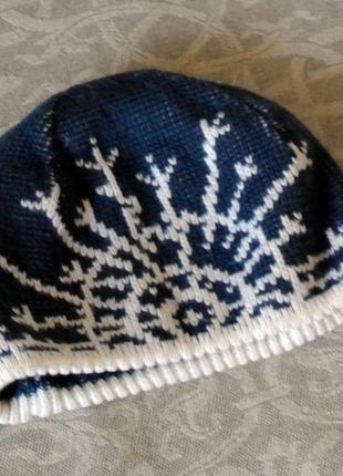 Теплая шапка loman со снежинками ( польша)