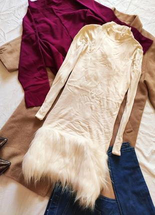 Платье теплое бежевое гольф с искусственным мехом снегурочка dee v by diana vickers