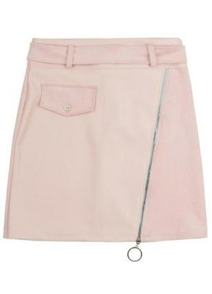 Розовая пудра замшевая кожаная короткая мини юбка с молнией ремнем
