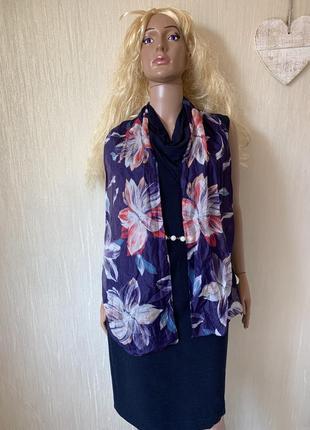 Невесомая прозрачность  шелковый шарф 100% шелк цветы