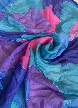 Шелковый платок шелк 100% ручная роспись батик каре