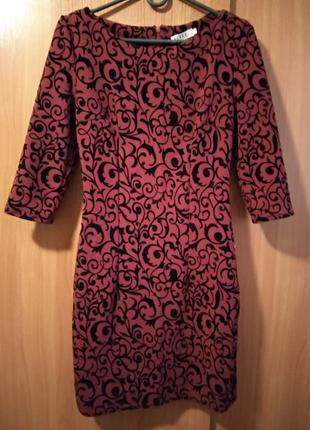 Платье бордовое р. xs (42)
