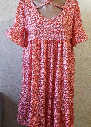 Оранжевое платьце в мелкий цветочек