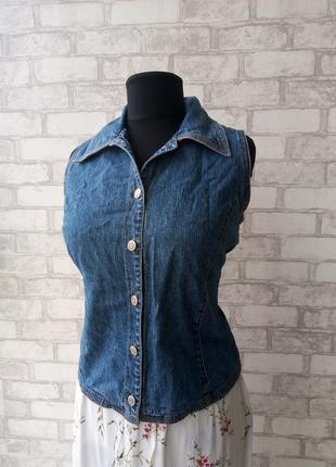 Джинсовая жилетка - блуза