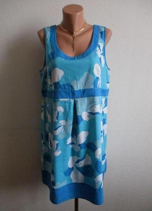 Sale -50%! льняное платье в цветочный принт papaya
