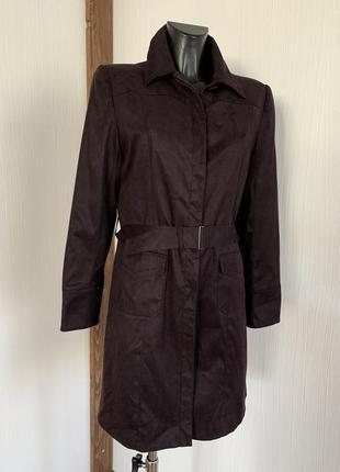 Куртка плащ пальто в фиолетовом цвете эко замш