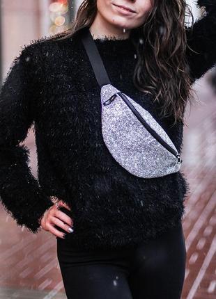 Красивая женская серебристая сумка на пояс из кожи pu, с блестками