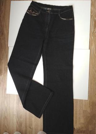 Джинсы штаны с вышивкой свободного кроя,высокая посадка